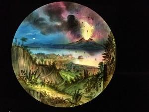 Anonyme (attribué à William Robert Hill), le mont Vésuve en éruption, plaque de verre pour lanterne magique peinte à la main, 27,9x27,9cm, Cinamthèque française.