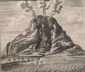 """Athanasius Kirchern, coupe du Vésuve in """"Systema Ideale Pyrophylaciorum Subterraneorum...,""""gravure sur papier, 41,4 x41,6 cm."""