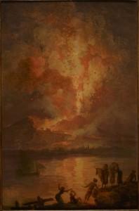 """Pierre-Jacques Volaire, """"Eruption du Vésuve"""",1767, huile sur bois, 39x25 cm, Muséum d'histoire naturelle, Paris."""