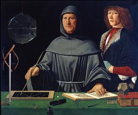 Portrait de Luca Pacioli et de sonélève Guidobaldo1er de Montefeltro, attribué à Jacopo de Barbar, musée de Capodimonte de Naplesi