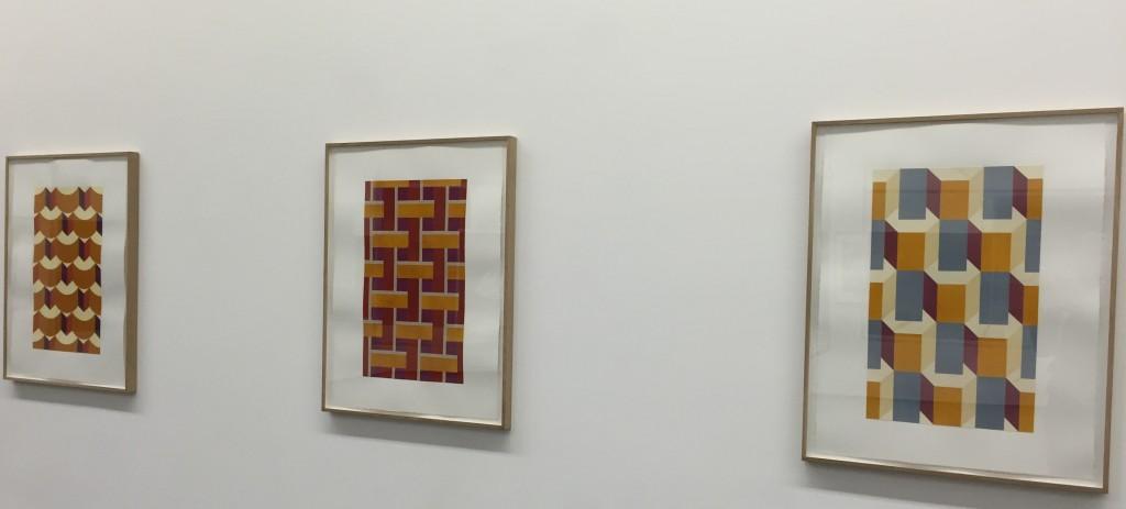 Raphaël Zarka,MOnte Oliveto, marqueteries de papier encré, chacune 79x69cm