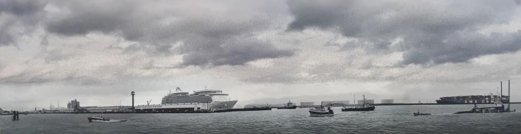 Jacqueline Salmon,Panorama du port du Havre, matin, carte des vents,épreuve pigmentaire,dessin à l'encre de Chine, contrecollage sur Dibond, 2016
