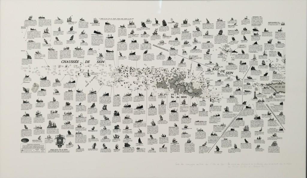 """Naufrages de navires dans le parages de l'île de Sein, 5""""x 90 cm ( par Michel Cloâtre et Georges Pennec"""