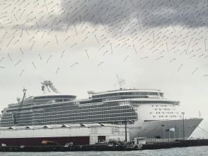 Panorama du port du Havre, matin, carte des vents, détail