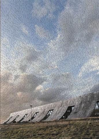 jacqueline Salmon, Brise-vent, quai Mazeline, Le Havre, carte des vents, dessin à l'encre de Chine, épreuve pigmentaire sur papayer japon, 95,5x83 cm