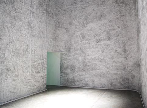 Dessin du troisième jour, graphite, installation éphémère dans l'exposition Inside, Palais de Tokyo, 2014