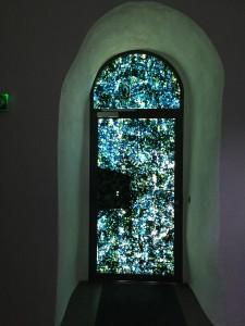 Aucuba, vue de l'installation sur la porte d'entrée de l'Espace Muraille