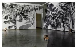 """""""Lorsque l'été lorsque la nuit""""2014. Dessin au fusain, dessins animés, taxidermies ,installation auCAIRN, Centre d'art, Digne-les-Bains."""